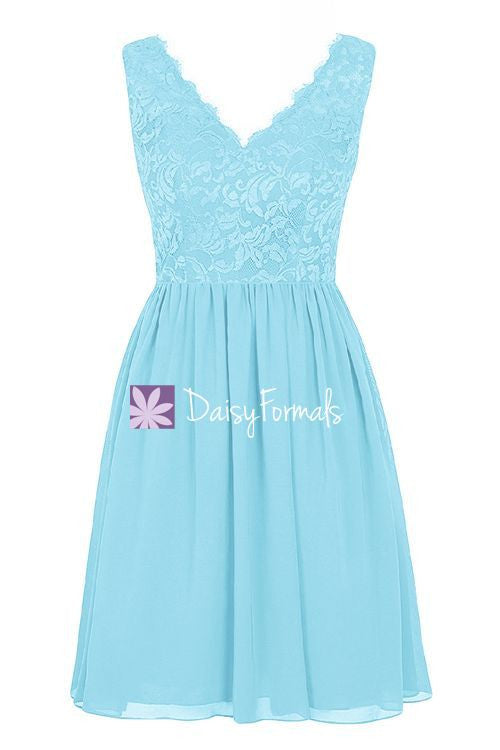 Sky Blue V-neckline Dress Women Lace Dress Bridesmaids Dress Short Prom Dress (BM2342)