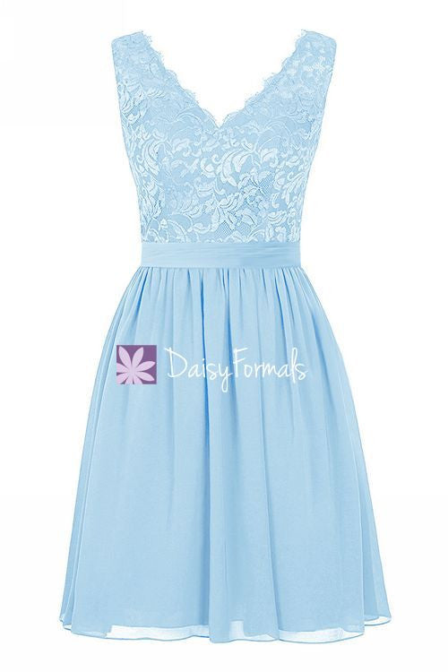 Ice Blue Party Dress w/Lace Straps Lace V-neckline Bridesmaids Dress (BM2343)