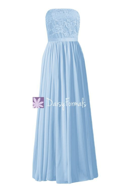 Ice Blue Lace Prom Dress Birthday Party Dress Strapless Lace Bridesmaids Dress (BM2345L)