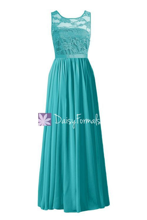 Long Scoop Lace Party Dress Custom Cyan Lace Bridesmaids Dress (BM2347L)