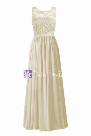 Champagne Long Scoop Neckline Bridesmaids Dress Long Nude Lace Party Dress (BM2347L)