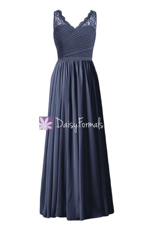 Navy V-Neckline Bridesmaids Dress Long A-line Long Lady Formal Dress (BM2348L)