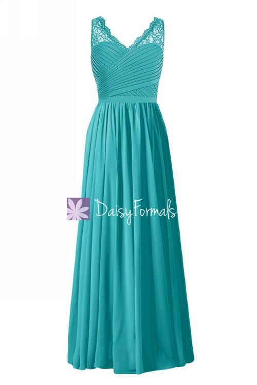 Long V-neckline Lace Party Dress Custom Floor Length Lace Bridesmaids Dress (BM2348L)