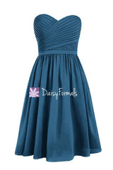 Peacock Blue Chiffon Party Dress Short Teal Sweetheart Formal Dress (BM2349)