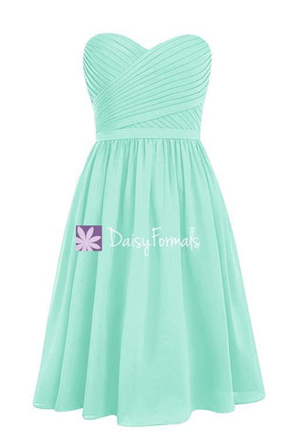 Classy Mint Green Chiffon Bridesmaids Dress Short Beach Party Dress (BM2349)