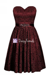 Dark Scarlet Beading Lace Dress Luxury Delicate Lace Bridesmaids Dress (BM2351B)