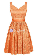 Orange Lace Bridesmaids Dress Short Lace Party Dress Semi Formal Dress (BM2352)