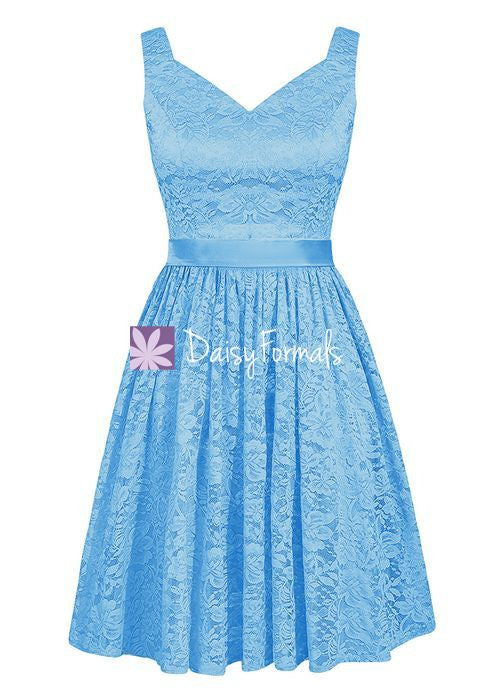 V Neckline Party Gown Sea Blue Lace Bridesmaids Dress Short Knee Length Lace Gown Bm2352