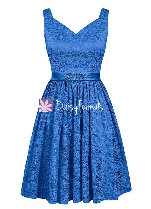 Royal Blue Lace Prom Dress Birthday Party Dress Semi Formal Dress ...