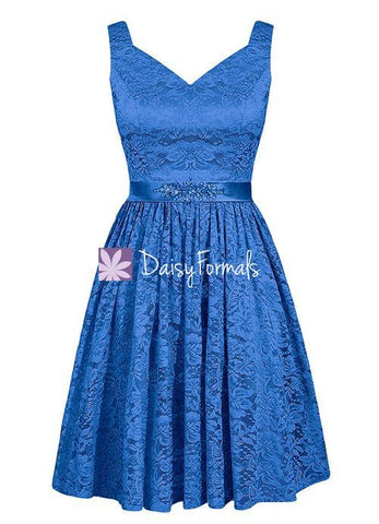 Royal Blue Lace Prom Dress Birthday Party Dress Semi Formal Dress (BM2352B)