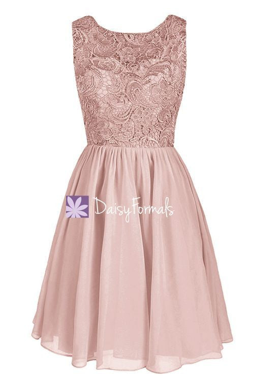 Dusty Rose Lace Cocktail Dress Scoop Neckline Bridal Party Formal Dress (BM2354)