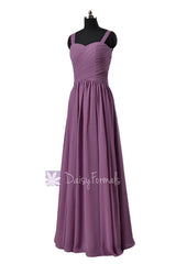 Long victoria lilac chiffon bridesmaid dress floor length lilac party dresses(bm2386)