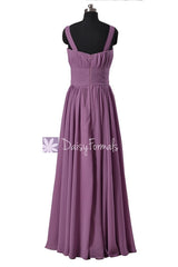 Long Victoria Lilac Chiffon Bridesmaid Dress Floor Length Lilac Party Dress(BM2386)
