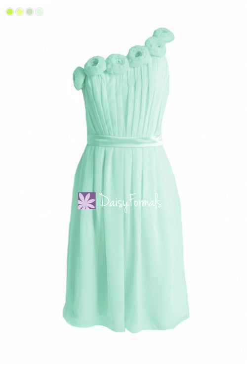 Mint green floral party dress one-shoulder simple cocktail bridesmaids dress chiffon dress (bm239s)