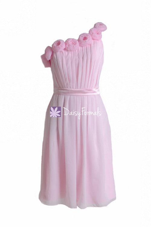 Floral one shoulder cocktail bridesmaids dress ice pink wedding party dress (bm239)