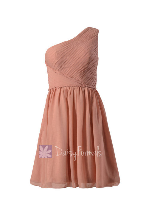 Knee length dark quartz chiffon special occasion dress one shoulder pleated affordable bridesmaid dress(bm2394)