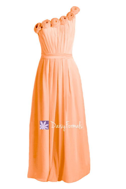 Orange chiffon evening dress one shoulder bridesmaids dress long (bm239l)