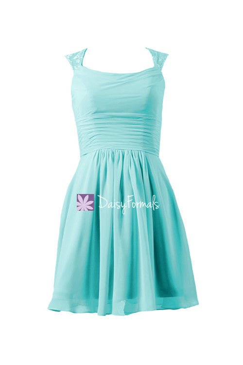 Smoother aqua chiffon bridal party dress scoop neckline beach wedding party dress (bm241)