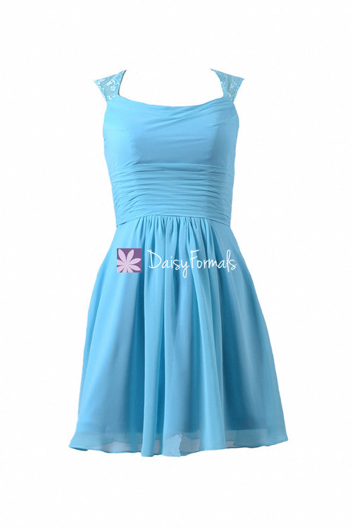Sea Blue Short Chiffon Bridal Party Dress Scoop Neckline Beach ...