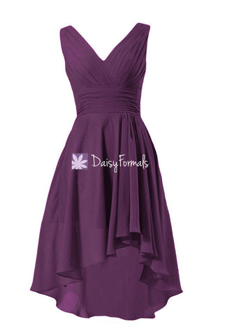 Affordable Byzantium Chiffon Evening Dress High Low Bridesmaids Dress (BM2422)