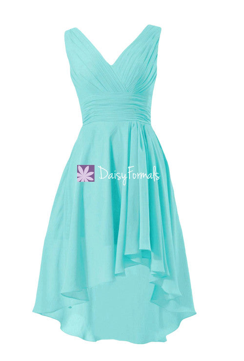 Fabulous aqua blue high low party dress classic tiffany blue v neckline formal dress (bm2422)