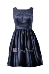 Knee length beaded satin bridal party dress rich peacock lace formal dress(bm2422a)