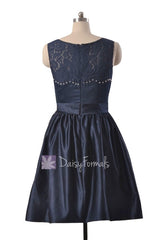 Knee length beaded satin bridal party dress rich peacock lace formal dresses(bm2422a)