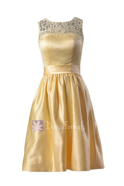 exquisite design fresh styles lower price with Yellow Satin Bridesmaid Dress Short Beaded Lace Formal Dress W/Illusion  Neckline(BM2422A)