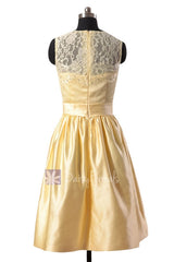 Yellow Satin Bridesmaid Dress Short Beaded Lace Formal Dress W/Illusion Neckline(BM2422A)
