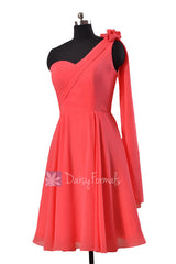 Asymmetrical one shoulder chiffon bridesmaid dress short coral red dresses for beach wedding (bm2423)