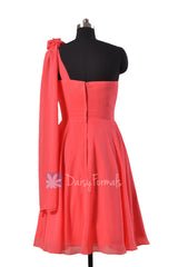 Asymmetrical One Shoulder Chiffon Bridesmaid Dress Short Coral Red Dress for Beach wedding (BM2423)