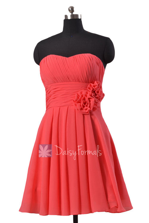 afd6703be99 Short cherry chiffon dress for beach wedding red strapless bridesmaid dress  online (bm2424)