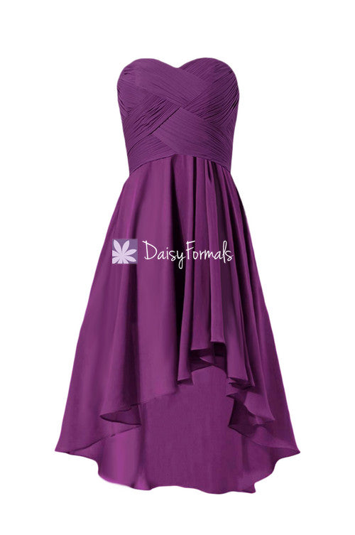 Dark magenta strapless discount formal dress high low dress purple party dress (bm2426)