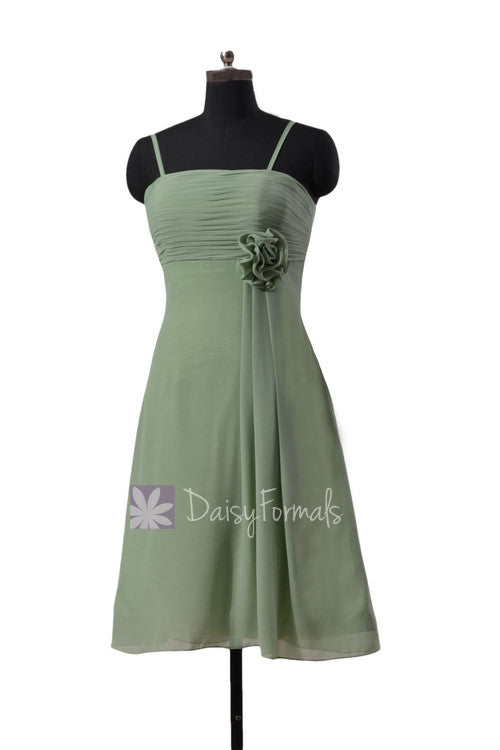 Soft green chiffon bridesmaid dress short xanadu green bridal party dress online (bm2222)
