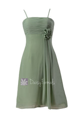 Soft green chiffon bridesmaid dress short xanadu green bridal party dresses online (bm2222)