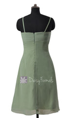 Soft Green Chiffon Bridesmaid Dress Short Xanadu Green Bridal Party Dress (BM2222)