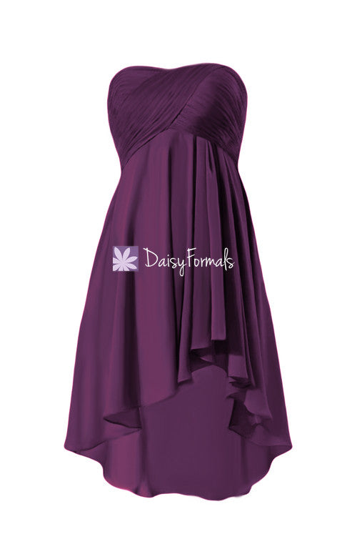 Dramatic strapless chiffon party dress plum high-low party dress prom dress (bm2428)