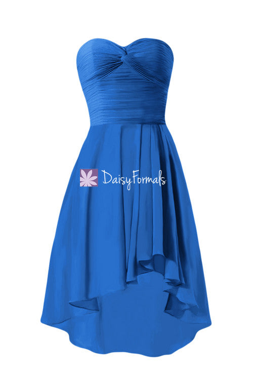 Sexy high-low prom dress cobalt blue formal dress pleated beach wedding party dress(bm2429)