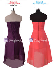 Dramatic strapless chiffon party dress plum high-low party dress prom dresses (bm2428)