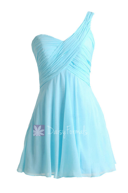Goddess inspired dress mini skirt beach wedding unique sky blue bridesmaid dress (bm2430ln)