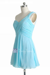 Goddess inspired dress mini skirt beach wedding unique sky blue bridesmaid dresses (bm2430ln)