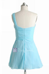 Goddess Inspired Dress Mini Skirt Beach Wedding Sky Blue Bridesmaid Dress (BM2430LN)