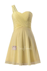 Light yellow chiffon one shoulder chiffon dress mini skirt unique bridesmaid dresses (bm2430rn)