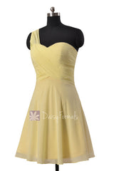 Light yellow chiffon one shoulder chiffon dress mini skirt unique bridesmaid dress (bm2430rn)