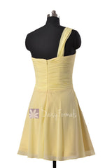 Light Yellow Chiffon One Shoulder Chiffon Dress Mini Skirt Bridesmaid Dress (BM2430RN)