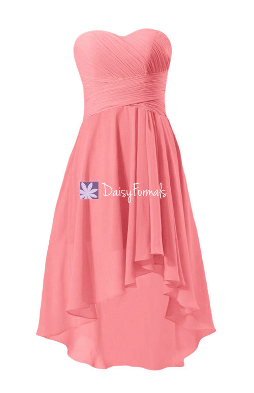 Coral strapless party dress sweetheart chiffon dress high low affordable bridesmaid dress (bm2431)