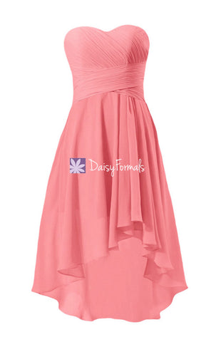 Coral Strapless Party Dress Sweetheart Chiffon Dress High Low Bridesmaid Dress (BM2431)