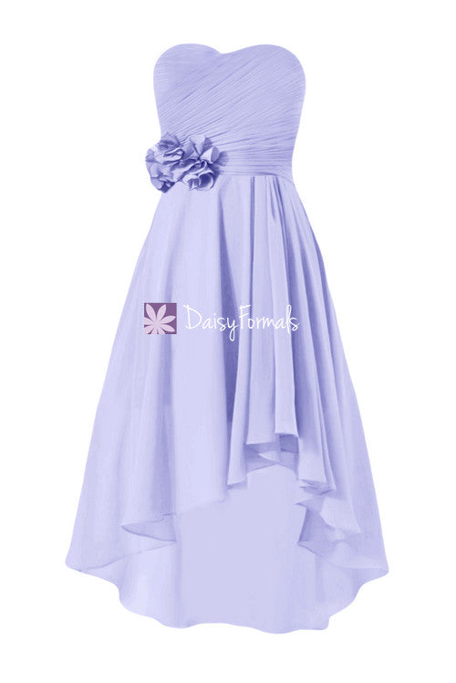 Light iris chiffon party dress floral lavender high low online bridesmaids dress prom dress (bm2436)