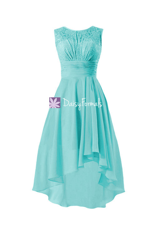 Chic lace party dress tiffany blue lace bridesmaids dress high low chiffon dress (bm2437)