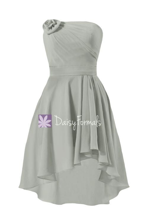 Grey High Low Party Dress Short Strapless High Low Dress Beach Party Dress Prom Dress (BM2439)